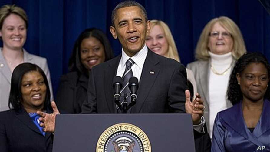 President Obama addresses White House Forum on Women and the Economy, April 6, 2012.