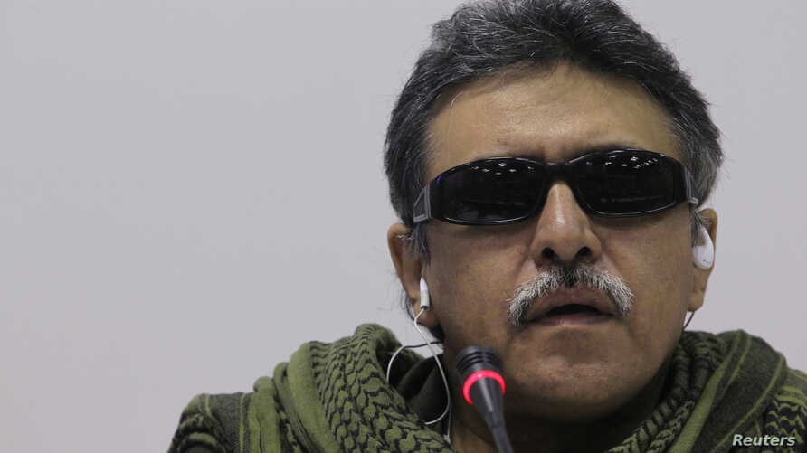 Member of the Revolutionary Armed Forces of Colombia [FARC] rebel group Jesus Santrich talks to the media during a news conference in Havana, January 24, 2013.
