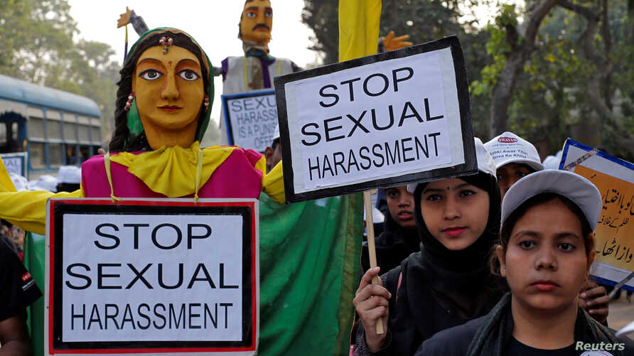 People take part in a protest rally against sexual harassment in Kolkata, India, Dec. 5, 2018.