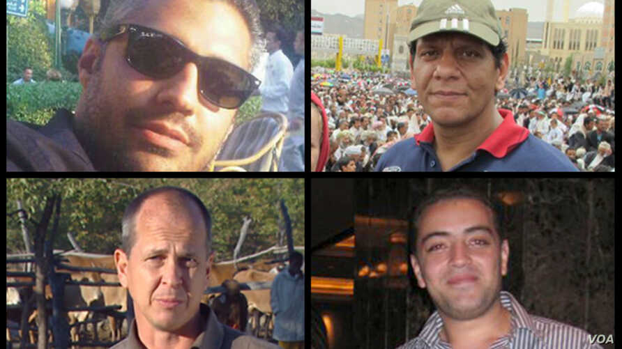 Al Jazeera reports that its journalists--Peter Greste, Mohamed Fahmy, Baher Mohamed and Mohamed Fawzy--are being held after being arrested by Egyptian security forces on Sunday, Dec. 29. (Al Jazeera)