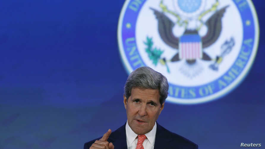 """U.S. Secretary of State John Kerry delivers opening remarks at the """"Our Ocean"""" conference at the State Department in Washington, June 16, 2014."""