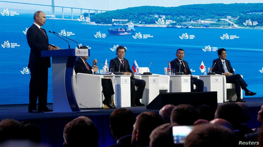 Russian President Vladimir Putin delivers a speech during a session of the Eastern Economic Forum in Vladivostok, Russia, Sept. 7, 2017.