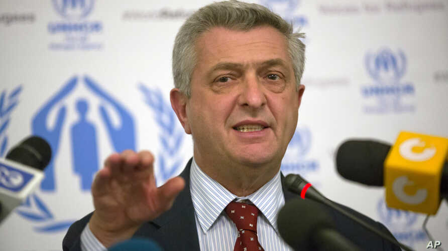 Filippo Grandi, the United Nations High Commissioner for Refugees, UNHCR, speaks during a press conference in Cairo, Egypt, Oct. 20, 2016.