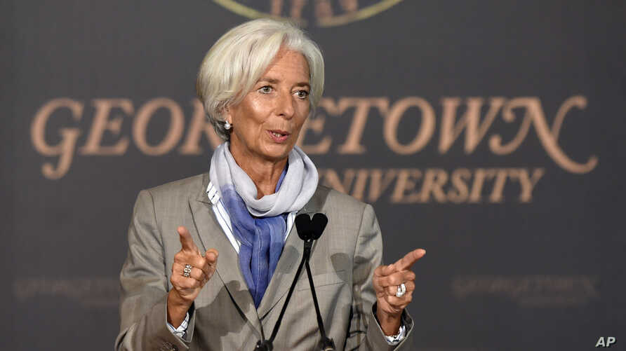 """International Monetary Fund (IMF) Managing Director Christine Lagarde speaks on """"The Challenges Facing the Global Economy"""" ahead of the 2014 IMF/World Bank Annual meetings, Oct. 2, 2014, at Georgetown University in Washington."""