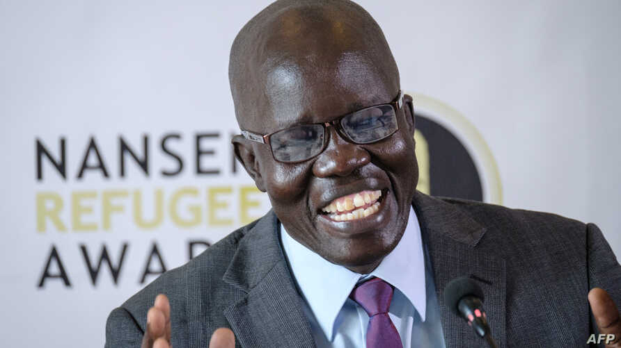 South Sudanese surgeon Evan Atar Adaha speaks during a press conference in the Kenyan capital Nairobi, Sept. 25, 2018, after being presented the UNHCR's 2018 Nansen Refugee Award.