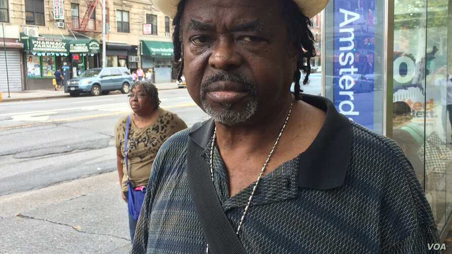 New Yorker Buddy Barrett reflected on events a year ago in Ferguson, Missouri while he waited for a bus at Amsterdam and 125th Street in Harlem