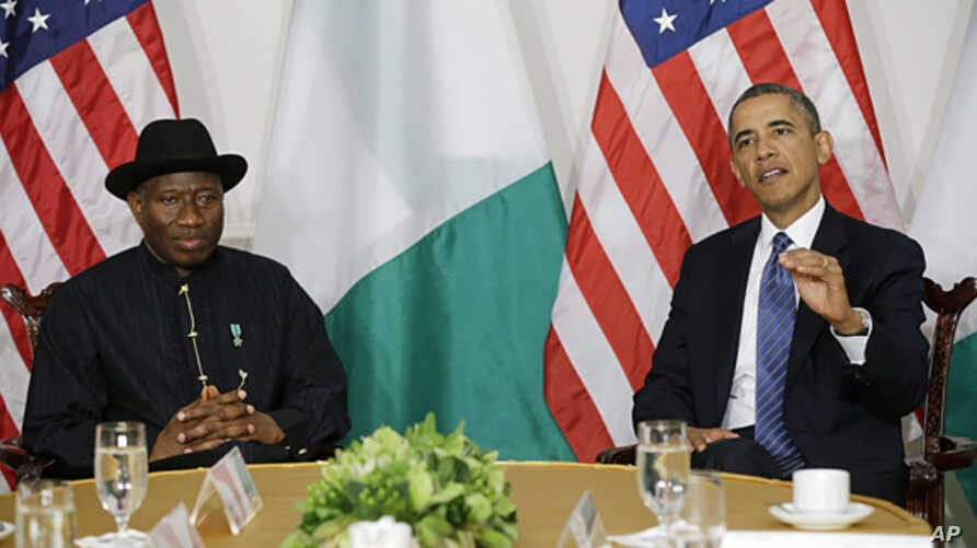 President Barack Obama meets with Nigerian President Goodluck Jonathan in New York, Sept. 23, 2013.
