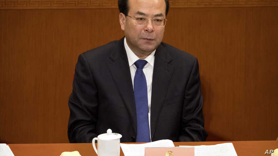 Sun Zhengcai, seen in this March 13, 2017 file photo, has been charged with bribery, becoming the highest-level serving official to be prosecuted in President Xi Jinping's sweeping anti-corruption campaign, now in its sixth year, Feb. 13, 2018.
