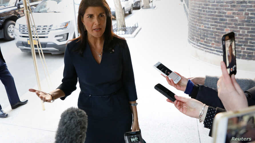 United States Ambassador to the United Nations Nikki Haley is pictured as she arrives for a lunch meeting in the Manhattan borough of New York City, New York, March 26, 2018.