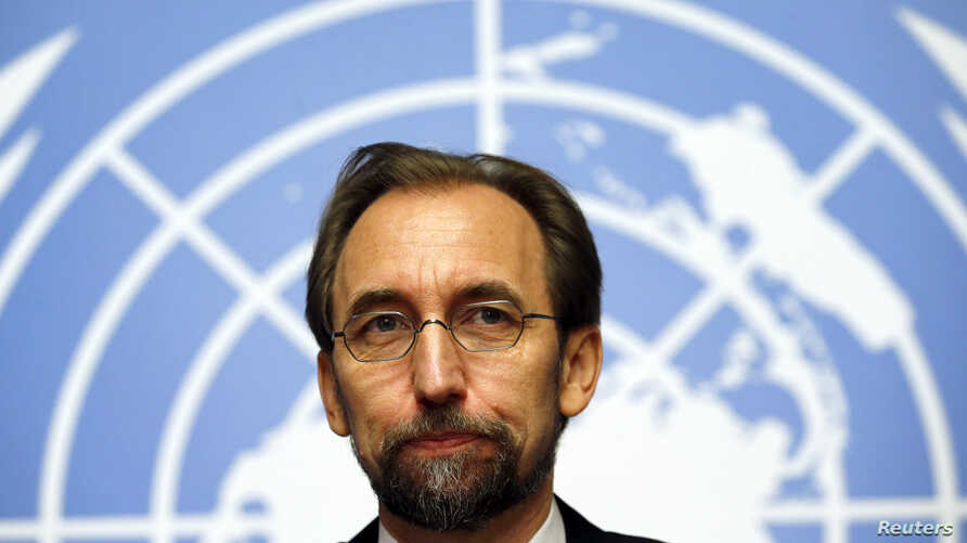 Jordan's Prince Zeid Ra'ad Zeid al-Hussein, U.N. High Commissioner for Human Rights, pauses during a news conference at the United Nations European headquarters in Geneva, Oct. 16, 2014.