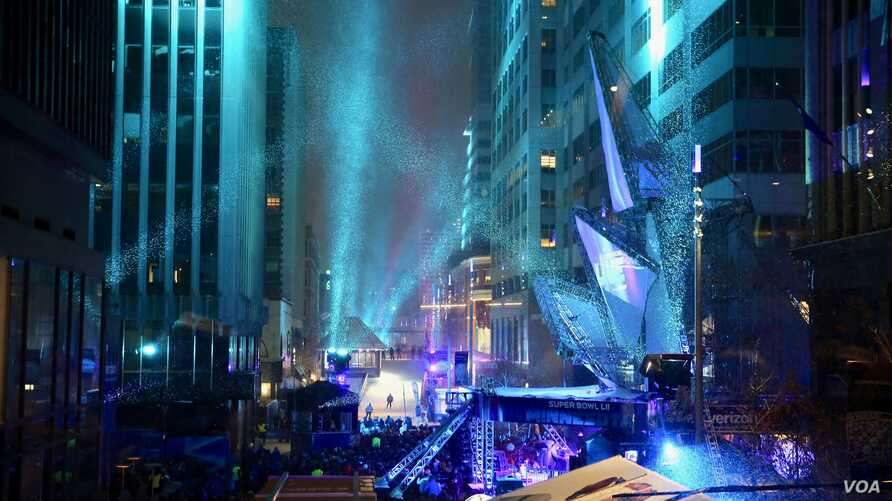 Super Bowl Live is 10-day party stretching across six blocks of downtown Minneapolis, Minnesota, leading up to the Super Bowl, the NFL championship football game between the Philadelphia Eagles and New England Patriots, Feb. 4, 2018.