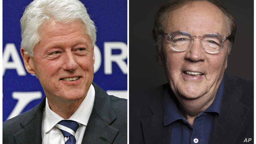 FILE - Photo combo shows former President Bill Clinton (L) at a political event at Upper Moreland High School in Willow Grove, Pa., on April 12, 2012, and author James Patterson at a photo session in New York on Aug. 30, 2016.