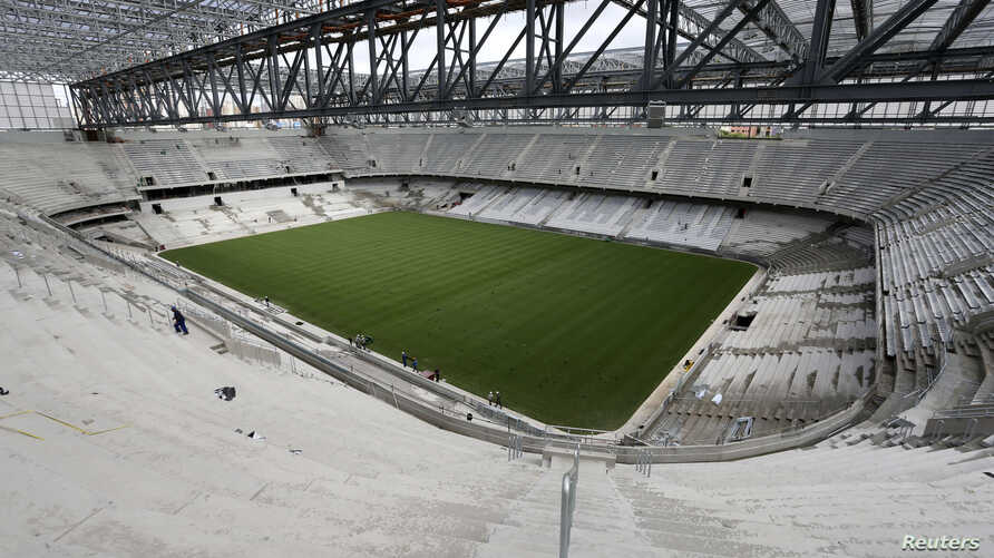 General view of the interior of Arena da Baixada soccer stadium as it is being built to host matches of the 2014 World Cup in Curitiba, Brazil, Feb. 17, 2014.