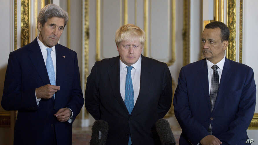 Making a joint statement on Yemen, with left - right, US Secretary of State John Kerry, British Foreign Secretary Boris Johnson and UN Special Envoy for Yemen Ismail Ould Cheikh Ahmed, at Lancaster House in London, Oct. 16, 2016.