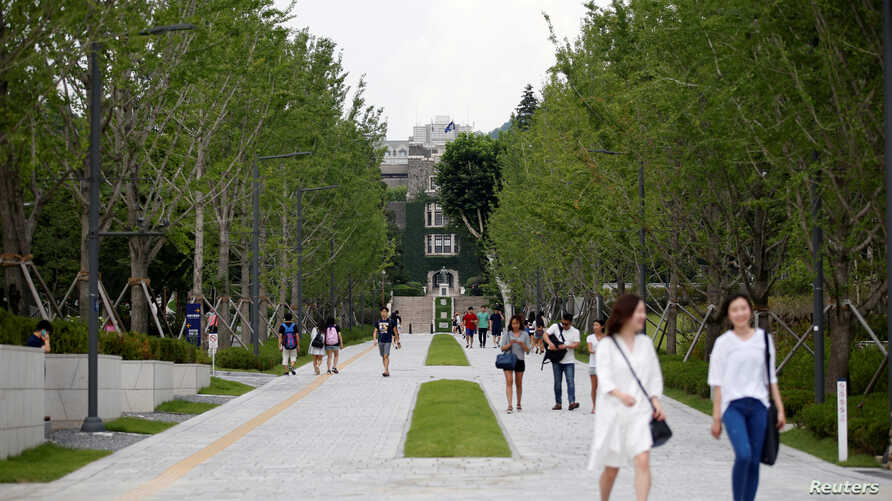 FILE - A student walks in the Yonsei University in Seoul, South Korea.