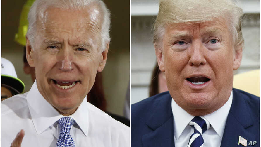 FILE - In this combination of photos, former vice president Joe Biden speaks in Collier, Pennsylvania, March 6, 2018, and President Donald Trump speaks in the Oval Office of the White House in Washington, March 20, 2018.