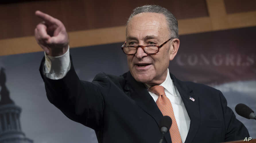 Senate Minority Leader Chuck Schumer, D-N.Y., explains to reporters how his negotiations with President Donald Trump broke down Jan. 19 as quarreling politicians in Washington eventually failed to keep the government in business, at the Capitol in Wa