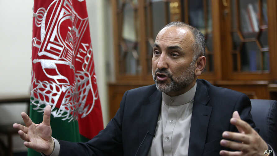 Afghan National Security Adviser Hanif Atmar speaks during an interview in Kabul, Afghanistan, Oct. 24, 2015. Atmar claims Islamic State fighters detained in Afghanistan had documents showing Pakistani citizenship.