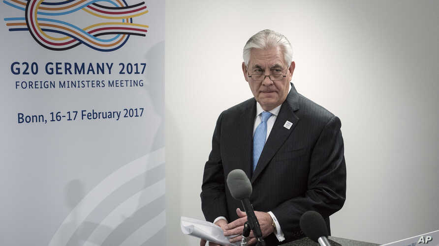 U.S. Secretary of State Rex Tillerson arrives to make a statement after a meeting with Russia's Foreign Minister at Sergei Lavrov at a G-20 metting in Bonn, Germany, Feb. 16, 2017.