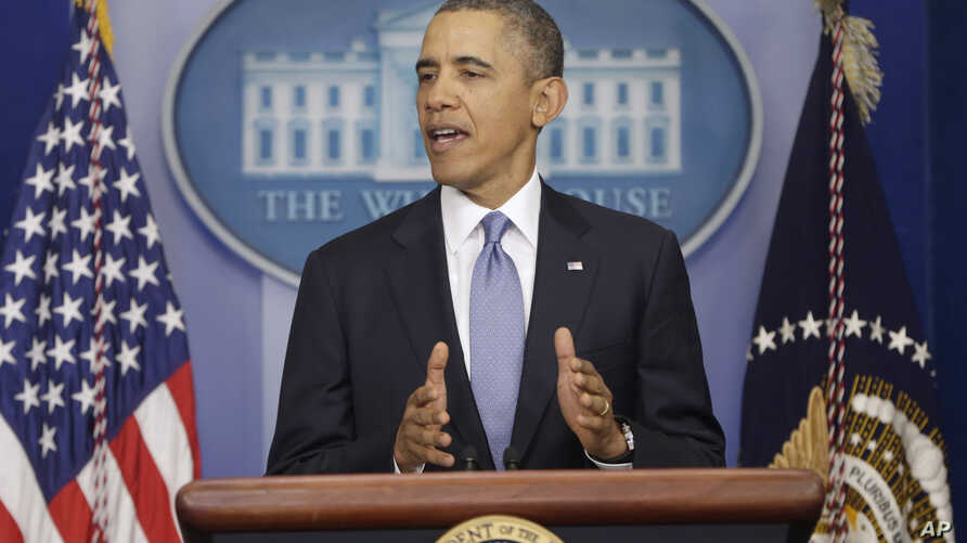 President Barack Obama speaks about Ukraine, in the James Brady Press Briefing Room at the White House in Washington, March 17, 2014.