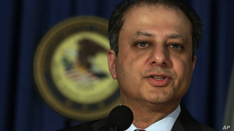 FILE - Preet Bharara, U.S. Attorney for the Southern District of New York,   addresses a news conference, in New York, May 28, 2013.