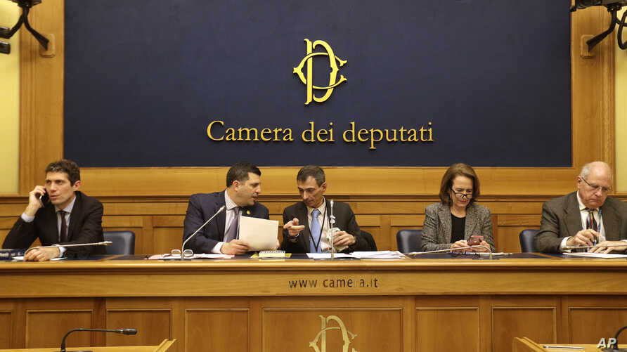 (L-R) Italian radical party lawmaker Riccardo Maggi, Mark Rozzi, Dem. member of the Pennsylvania House of Representatives, Italian survivor of sex abuse Francesco Zanardi, Anne Barrett Doyle, of Bishop Accountability, and Tim Lennon, of SNAP, attend