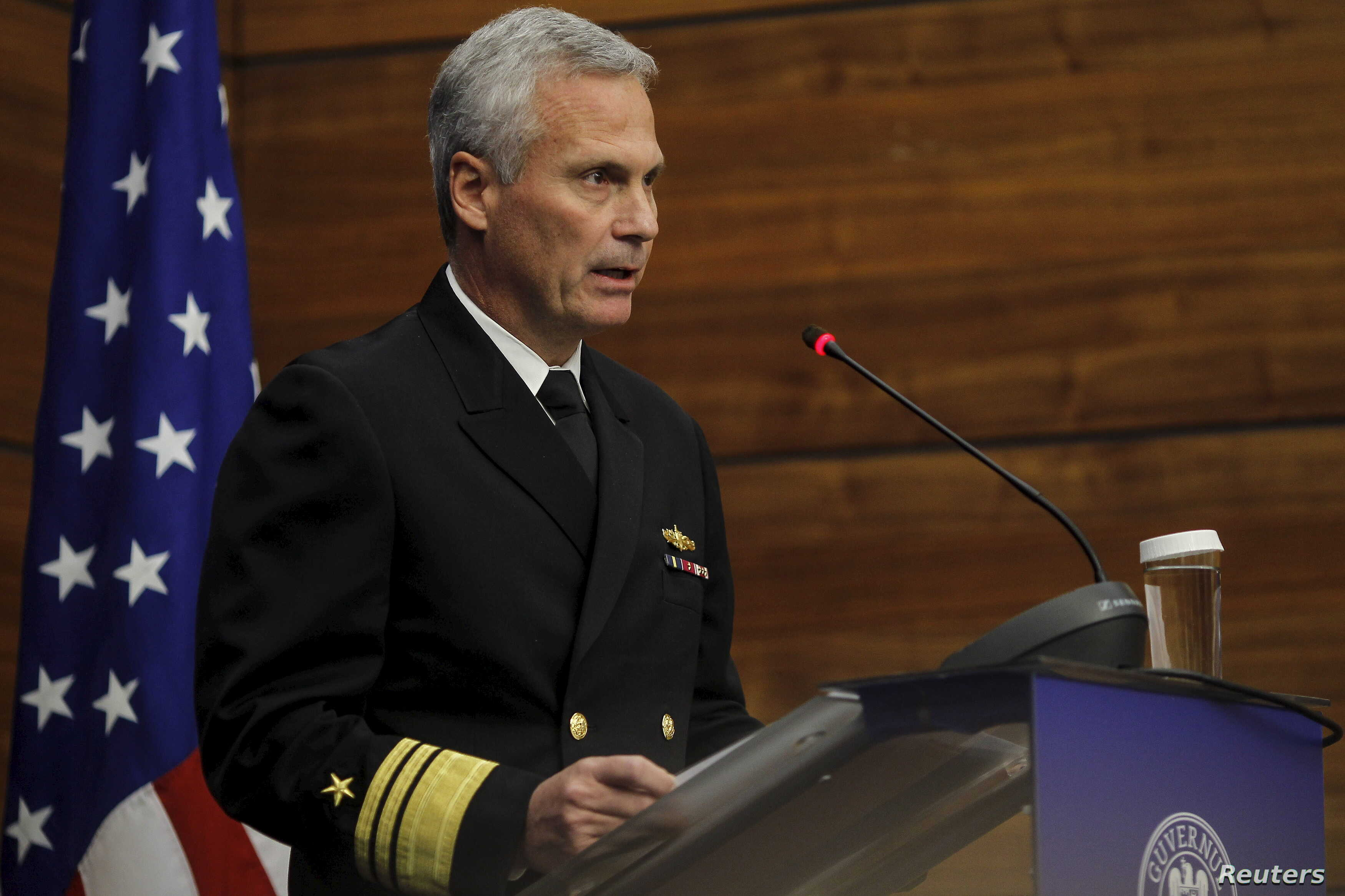 """Vice Admiral James Syring, shown speaking at the Romanian Foreign Affairs Ministry in Bucharest, Dec. 18, 2015, says the U.S.  taken """"inordinate"""" measures to defend its own missile defense networks, but he remains concerned about potential vulnerabil..."""