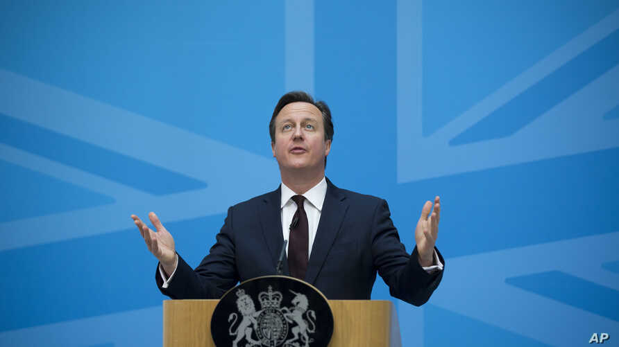 FILE - Britain's Prime Minister David Cameron delivers a speech on immigration at the Home Office in London, May 21, 2015.