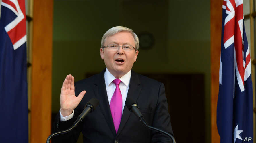 Australia's Prime Minister Kevin Rudd speaks during a press conference at the Parliament House in Canberra, Aug. 4, 2013.