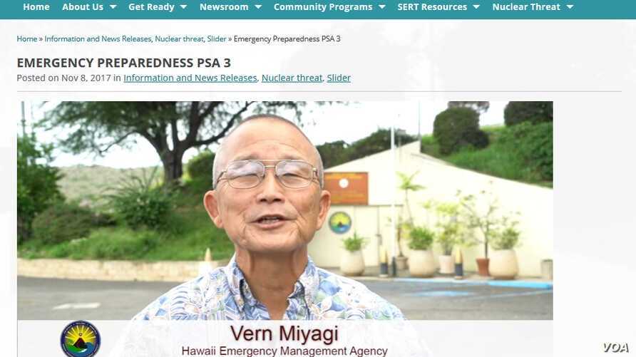 "Vern Miyagi appears in a PSA announcing the addition of the Nuclear Warning to the monthly ""Attention Alert"" test."
