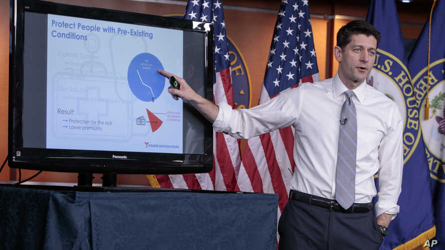 House Speaker Paul Ryan of Wis. uses charts and graphs to make his case for the GOP's long-awaited plan to repeal and replace the Affordable Care Act, March 9, 2017.