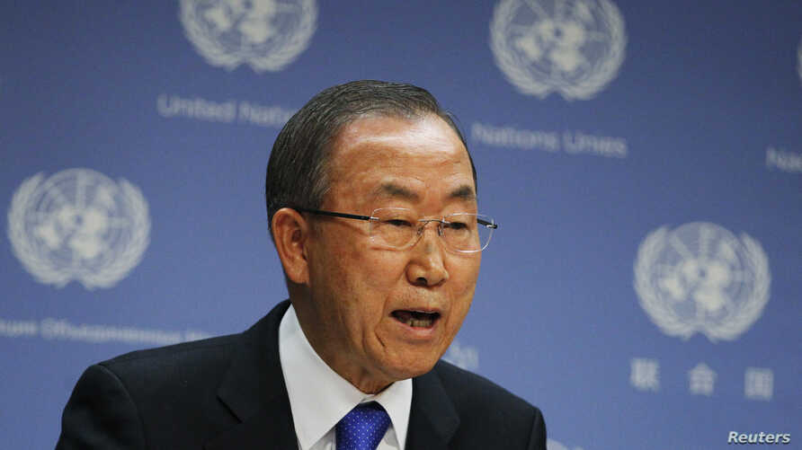 United Nations Secretary-General Ban Ki-moon speaks during a news conference at the United Nations Headquarters in New York, Sept. 9, 2013.