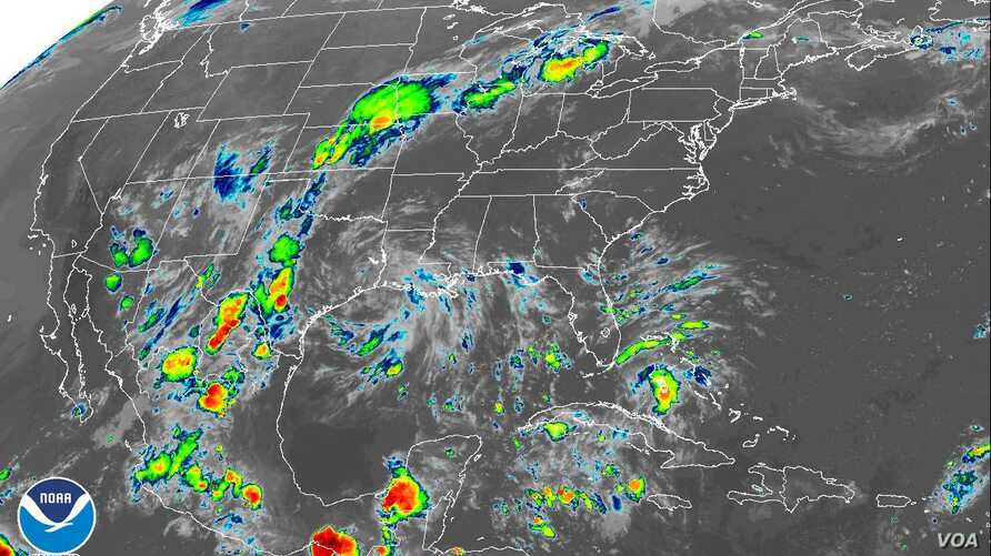 NOAA infrared satellite image of US East Atlantic and Gulf Coast, Sunday, Sept 2, 2018.