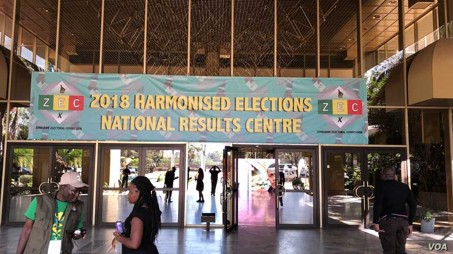 Opposition members demanding release of election results in Harare wanted to march to the Zimbabwe Electoral Commission's offices where results were supposed to have been released. (C. Mavhunga/VOA)