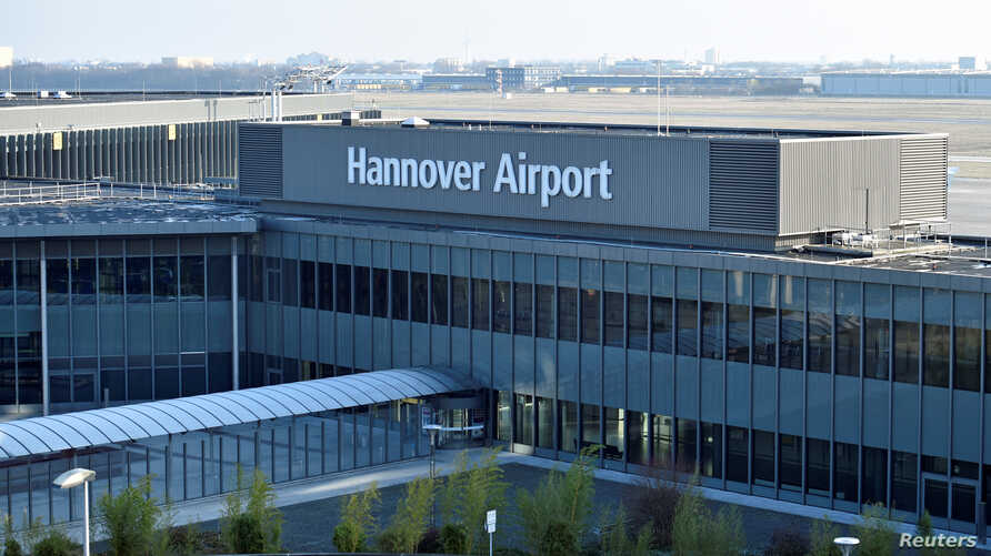 FILE - The entrance of the Hannover Airport is pictured in Hanover, Germany, Jan. 26, 2017.