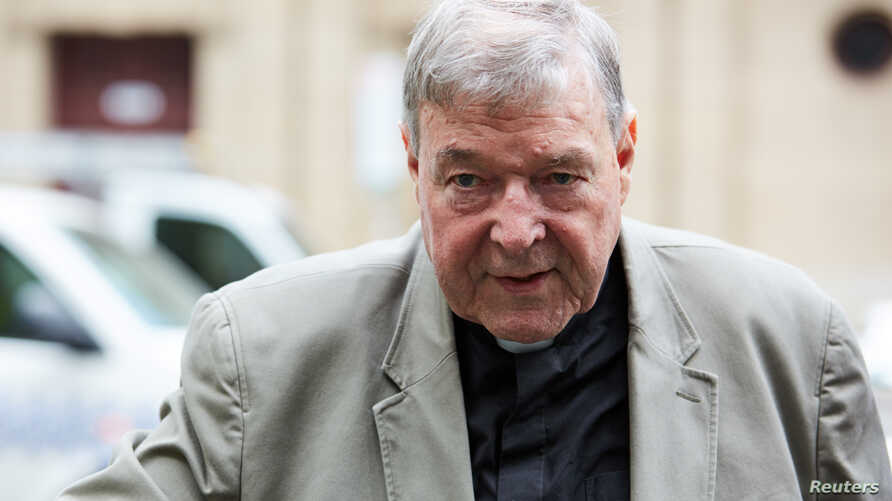 Cardinal George Pell arrives at the County Court in Melbourne, Australia, Feb. 26, 2019.