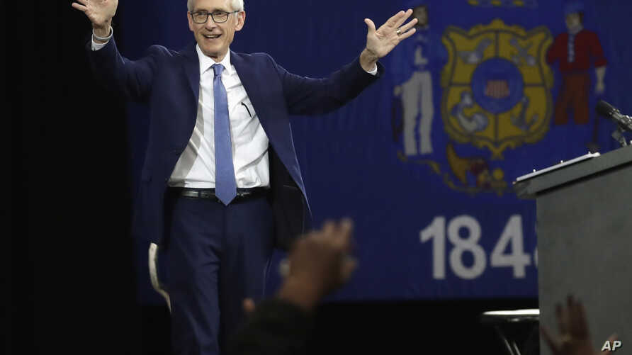 FILE - Wisconsin Democratic candidate for governor Tony Evers speaks at a rally in Milwaukee, Oct. 26, 2018. Evers won and will be Wisconsin's next governor.
