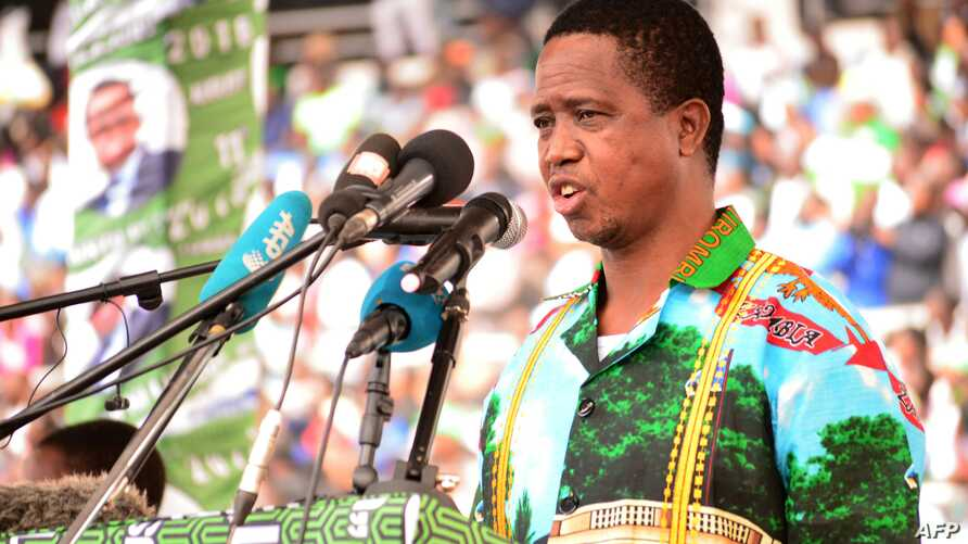 FILE - Incumbent Zambian President Edgar Lungu addresses tens of thousands of supporters on May 21, 2016, at the Heroes Stadium in Lusaka as he launches his re-election campaign.