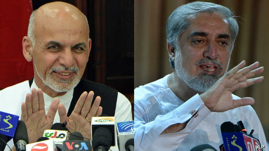 Afghan presidential candidate Ashraf Ghani (left) at press conference on July 5, 2014. Rival presidential candidate Abdullah Abdullah at a press conference at his residence on July 6, 2014.