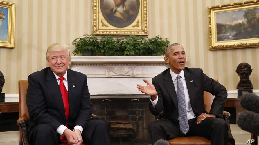 President Barack Obama meets with President-elect Donald Trump in the Oval Office of the White House in Washington, Nov. 10, 2016.