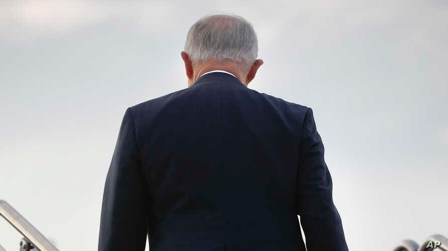Attorney General Jeff Sessions boards his plane at Andrews Air Force Base, Maryland, July 27, 2017.