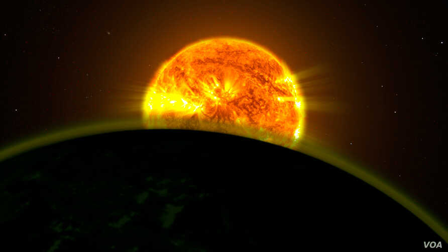 NASA scientists found faint signatures of water in the atmospheres of five distant planets orbiting three different stars. All five planets appear to be hazy. This illustration shows what one of them might look like.