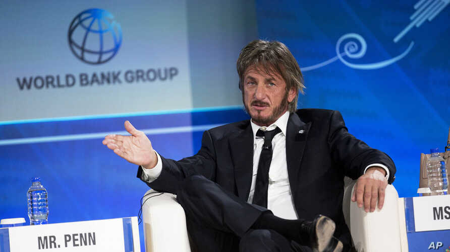 FILE - In this Oct. 8, 2015 file photo, Sean Penn speaks during a forum with young entrepreneurs during the IMF and World Bank annual meeting in Lima, Peru.
