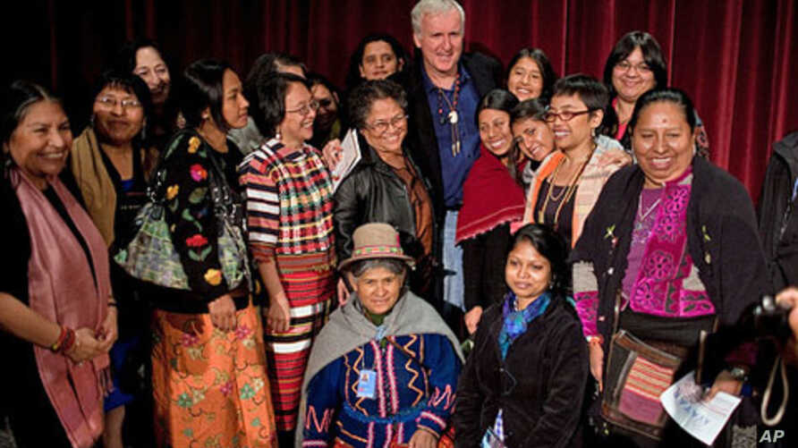 'Avatar' director James Cameron with some of the indigenous people who attended a recent screening of the film.