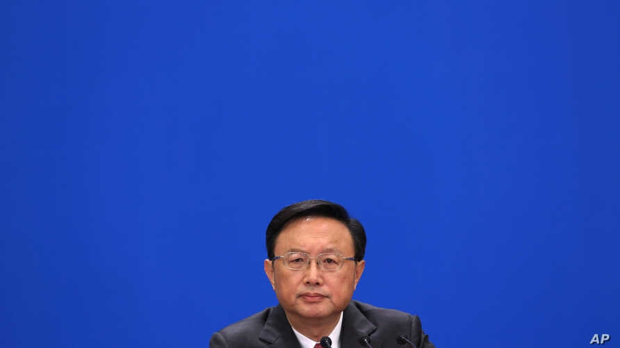 Chinese Foreign Minister Yang Jiechi attends a news conference in Beijing's Great Hall of the People, China, Mar. 9, 2013.