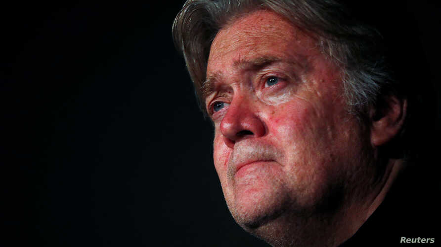 FILE - Former White House Chief Strategist Steve Bannon holds a news conference in Rome, Italy, Sept. 22, 2018.