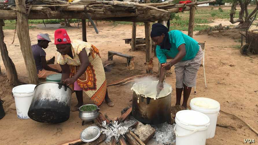 A family in Chachacha village in Chipinge prepares Zimbabwe's popular, thick porridge called sadza made of corn meal and served with relish, March 2016. Most households eat sadza twice a day, at lunch and dinner. But as the country's hunger worsens,