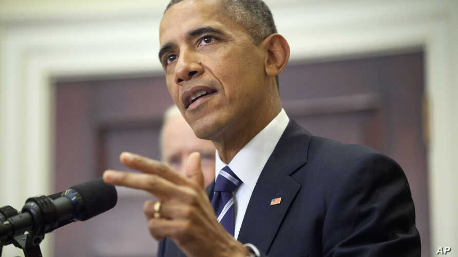 President Barack Obama announces he's rejecting the Keystone XL pipeline because he does not believe it serves the national interest, Nov. 6, 2015, in the Roosevelt Room of the White House in Washington.