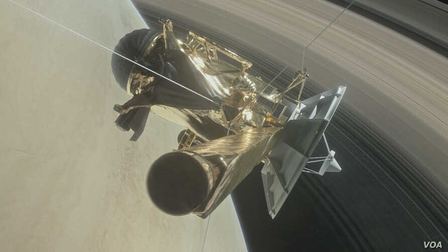 Artist's drawing of Cassini spacecraft ready for its final dive into Saturn (Credit: NASA/JPL)