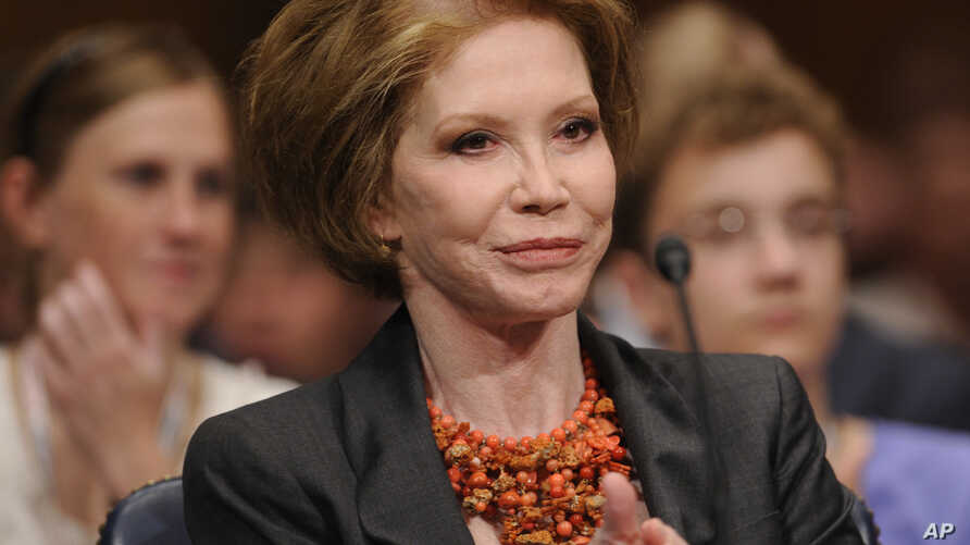 FILE - actress Mary Tyler Moore before the Senate Homeland Security and Governmental Affairs Committee hearing on Type 1 Diabetes Research on Capitol Hill in Washington.